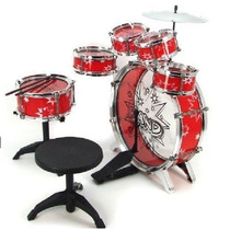 Bateria Musical Roja Niños Infantil Roja Drum Instrumentos