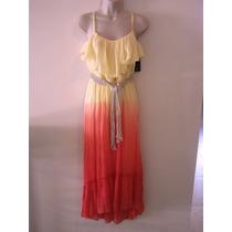 Maxi Dress Coral Con Cinto Bcx S Y M Envio Incluido