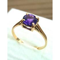 Anel Solitário Ouro 18k Pedra Natural Ametista