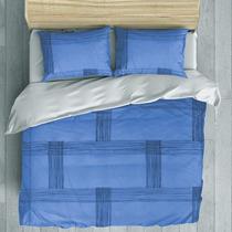 Juego Edredon Completo Rayado Azul King Size Bytex