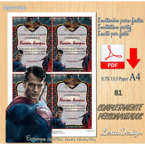 Invitacion Digital Imprimible Superman / Man Of Steel