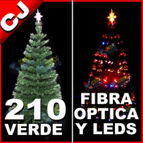 Arbol Verde 210 Fibra Optica Y Luces Led Integradas Navidad