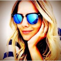 Óculos R B, Estilo Clubmaster Lente Azul Espelhada