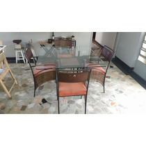 Mesa Jantar Quatro Cadeiras Em Ferro Tampo De Vidro 8mm