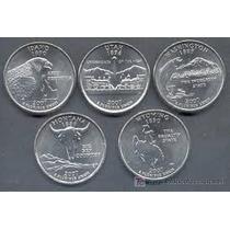 5 Monedas Estados Unidos 25 Centavos Estados Año 1999 A 2009