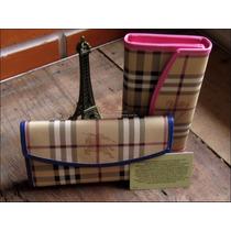 Carteira + Porta Cartão .burberry. Em Couro Fotos Reais