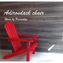 Cadeira Adirondack Espreguiçadeira Red Em Madeira Parisshop