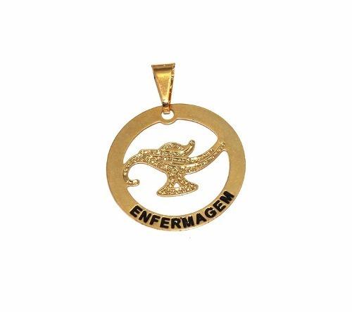 1e6caa4f4c3bf Pingente Profissão Enfermagem Enfermeira Folheado Ouro Lindo - R  12,81 em  Mercado Livre