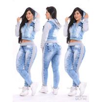 Jaqueta Blusa Jeans Moletom Feminina Destroyed Com Lycra