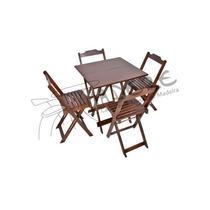 Conjunto De Mesas E Cadeiras De Madeira Dobrável