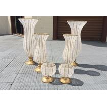 Kit Vaso Pedraria Anf. 2 45cm 2 60cm 2 Mini Vaso Cristal