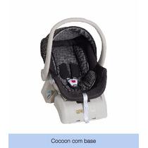 Kit Bebê Conforto + Base Auto Cocoon Preto E Cinza Galzerano