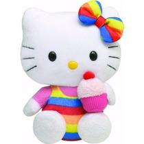 Hello Kitty Com Cupcake Pelúcia Sanrio 16cms Da Ty!