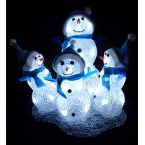 Decoración Iluminada Muñecos De Nieve 30cm X 26cm
