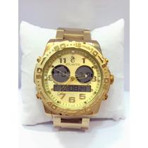 Relógio Masculino Atlantis Original Dourado Ponteiro Digital
