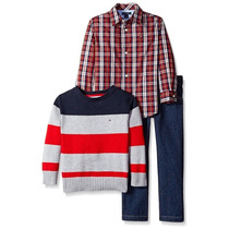 Conjunto Tommy Hilfiger Camisa Pantalon Sweater Talla 3