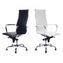 Cadeira Presidente Diretor Charles Eames Costurada Cromada