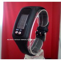 Relógio Pedômetro Distancia Km Calorias Black- Botão Cromado