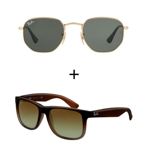 Kit Com 2 Ray-ban - Justin Marrom + Hexagonal Preto Dourado - R  269,99 em  Mercado Livre d0615c2d2e