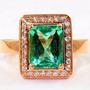 Anillo Oro Rosado 18k Diamantes Esmeralda Colombiana