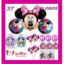 37 Globos Mimi,envìo Gratis,mickey Y Minnie Rosa Fiesta
