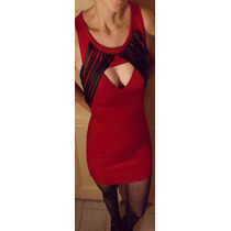 Vestido Rojo Mini Lycra Escote Corazon Flecos Negros Nuevo S
