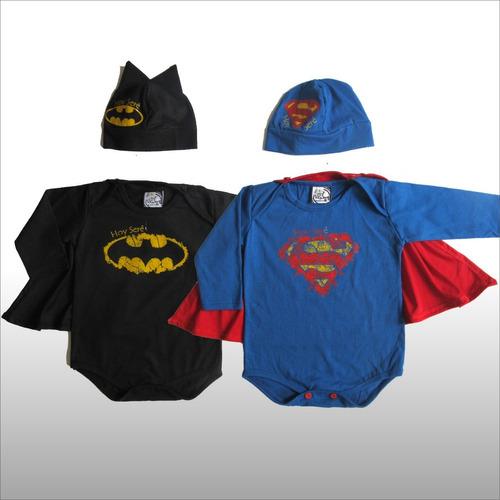 Body Bebe Con Gorrito Y Capa Superheroe Batman Superman -   390 dd552d68504