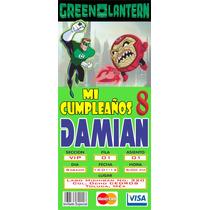 Ticket Master Linterna Verde 100 Invitaciones Impresas