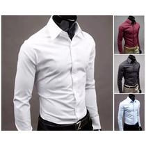Camisa Slim Fit Masculina Social A Pronta Entrega 4 Cores