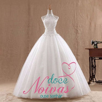 Vestido Noiva Princesa Renda Frente Unica Pronta Entrega