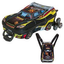Mochila Infantil C/ Rodinhas 3d + Lancheira Carro V8 Maxtoy