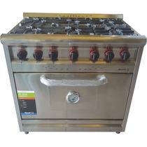 Cocina Industrial 6 Hornallas Morelli 900 Acero Mod. Country