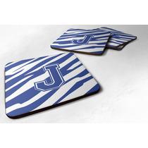 Conjunto De 4 Monograma - Raya Del Tigre Azul Y Blanco De La