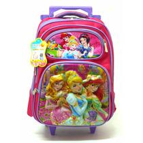 Mochila Princesas 3d 4 Bolsos Rodinhas Meninas