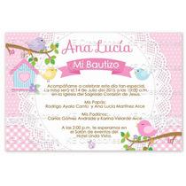 Kit Imprimible Bautizo Invitaciones Niña Pajaritos Vintage