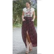 Maxi Falda Larga Boho Etnica Moda Nacional