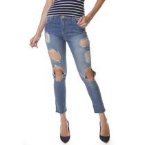 Calça Jeans Multi Ponto Denim Cigarrete Destroyed