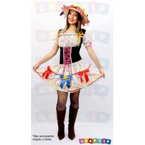 Vestido De Festa Junina + Chapéu Caipira Quadrilha Junino