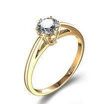 Anel Solitário Em Ouro 18 Quilate E Diamantes