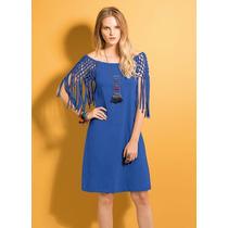Vestido Com Franjas Vazado Azul Royal Manga Curta Algodão