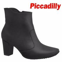 Bota Piccadilly Ankle Boot Conforto Preto Salto 7 Cm 789010