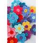 Flores Simples Con Centro Al Crochet (pack De 10 Unidades)