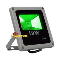Refletor Led Holofote 10w Verde Bivolt Ip66 - Frete Grátis