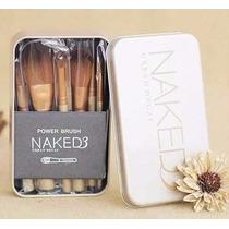 Kit 12 Pincéis Maquiagem Naked 3 Power Brush Com Estojo Lata