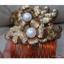 Par Peinetas Carey Metal Dorado Con Flores Perlas Unicas