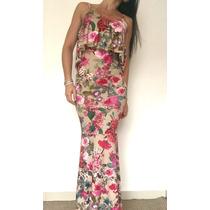 Vestido Sereia Longo Malha Estampa Floral Com Bojo