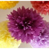 Balão Pompom Papel Seda Festas Decoração 30cm De Diâmetro