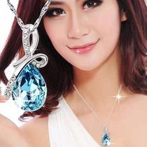 Cordão Colar Feminino Prata Folheado Linda Pedra Azul Angel