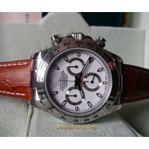 Relógio Eta Valjoux Mod. Daytona Dial Branco Pulseira Couro
