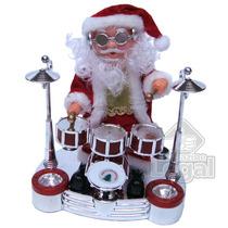 Papai Noel Baterista Musical Toca Bateria Natal Boneco